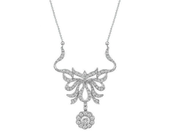 Estate 14k White Gold Floral Filigree Diamond Pendant Necklace