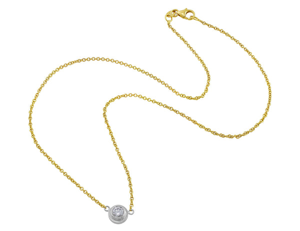 18kt Yellow Gold Diamond Solitaire Necklace