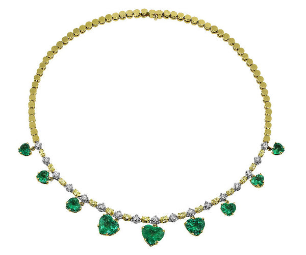 Yellow Gold Platinum Fancy Yellow Diamond Colombian Emerald Heart Drop Necklace