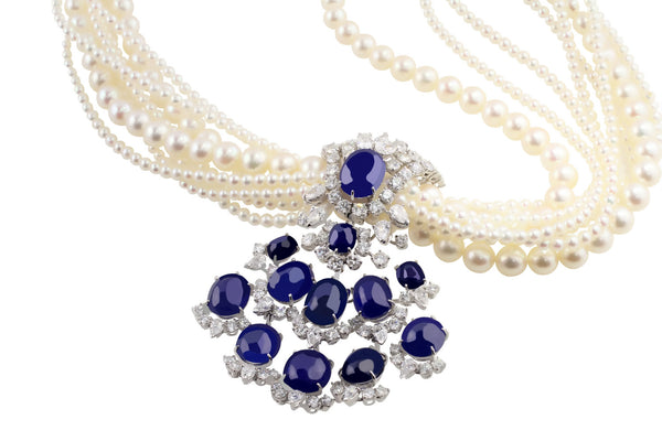 Vintage French 1950's Sapphire and Pearl Necklace