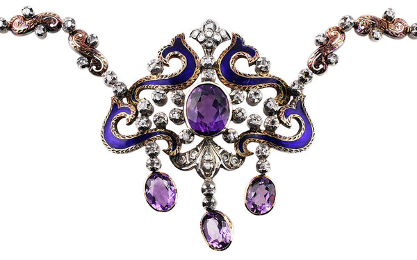 Estate Victorian Silver Diamond Amethyst Necklace & Earrings