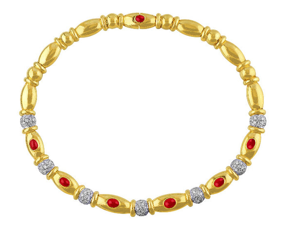 Ruby and Diamond Yellow Gold Necklace