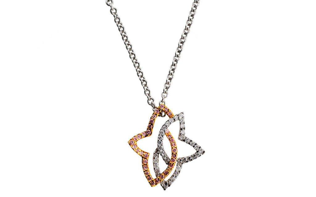 Pink and white diamond star pendant necklace cj charles jewelers aloadofball Choice Image