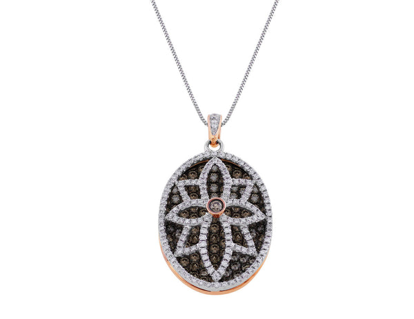 2ct Oval Brown and White Diamond Pendant