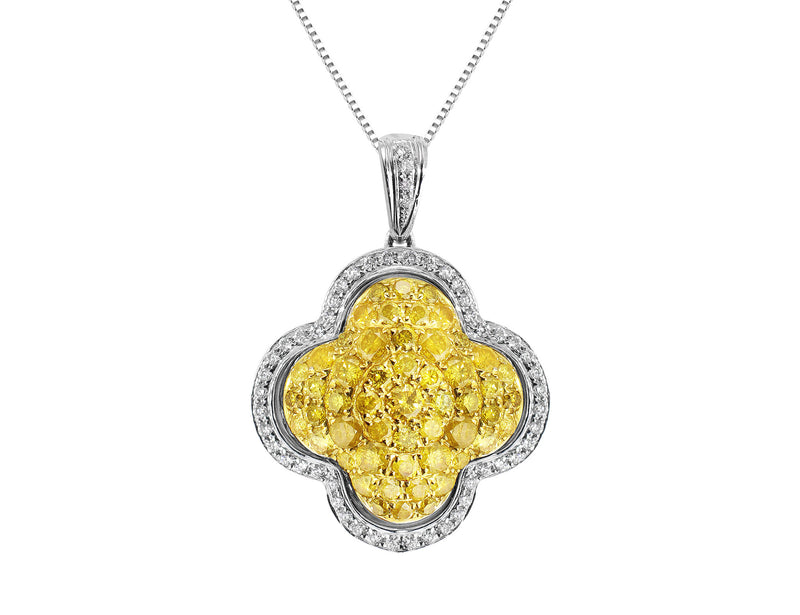 Yellow and White Pave Diamond Pendant
