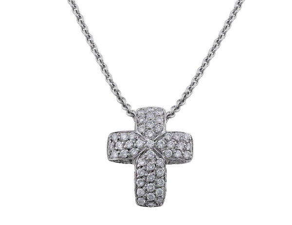 Estate White Gold Pave Diamond Cross Pendant