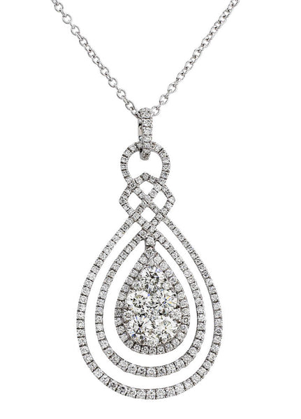 Diamond Pear Pendant Chain