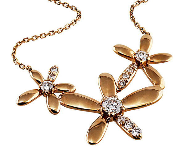 Rose Gold and Diamond Flower Necklace
