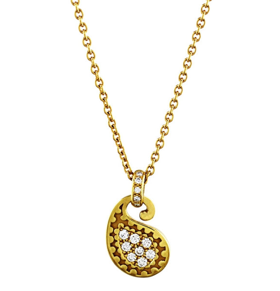 Estate Carrera Y Carrera Diamond Yellow Gold Paisley Pendant