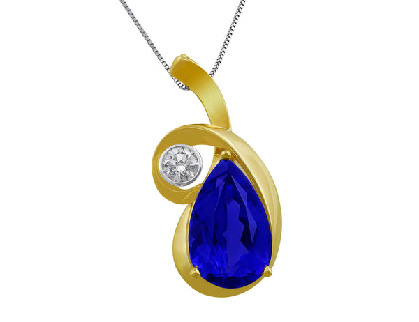 Estate 14kt Yellow Gold Tanzanite Pendant