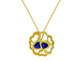 18kt Yellow Gold Iolite Heart Necklace