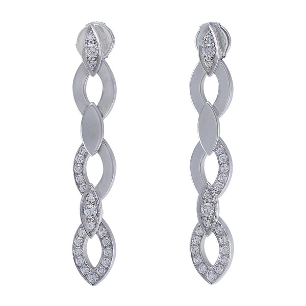 Estate Cartier 18kt White Gold Diamond Drop Earrings