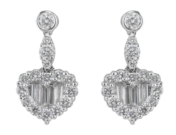 2ct Heart-Shaped Diamond Earrings