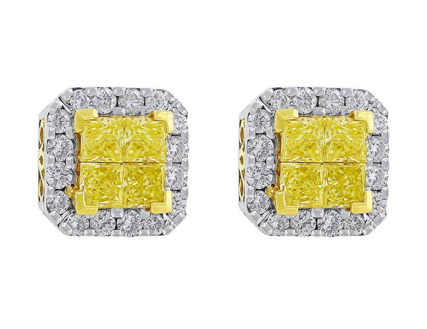 Yellow and White Diamond Filigree Stud Earrings