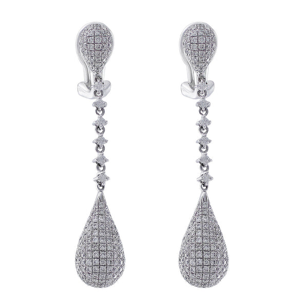 18kt White Gold Pave Diamond Dangle Earrings