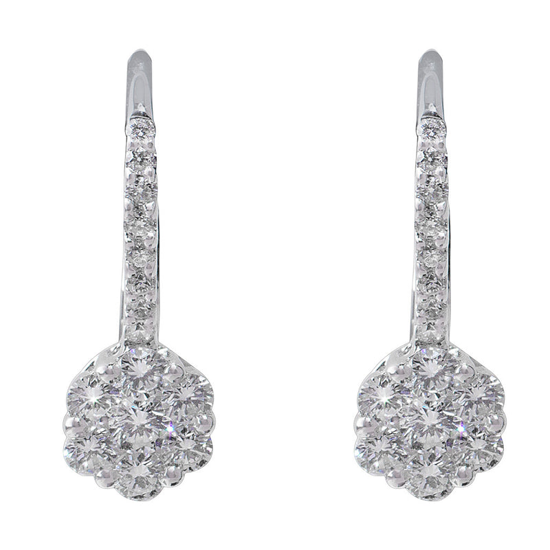 Diamond Flower Lever Back Earrings