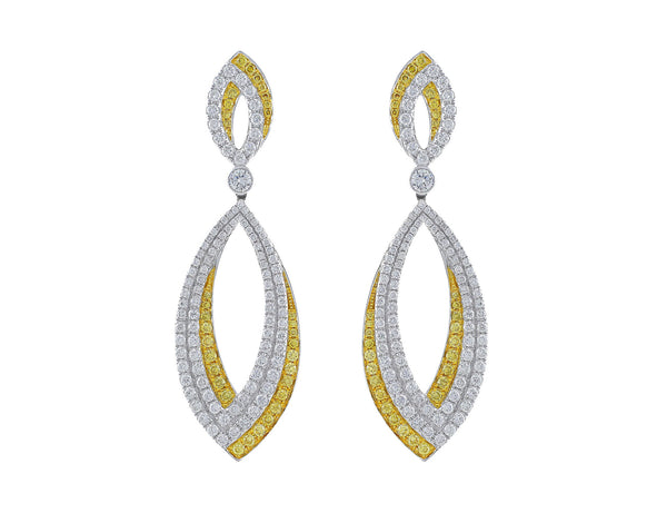 Yellow and White Diamond Oval Drop Earrings