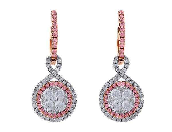 18kt White Gold & Rose Gold Diamond Pendant Earrings