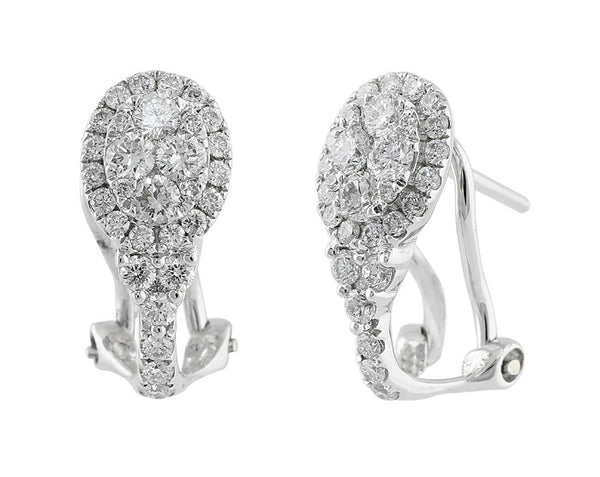 Diamond Teardrop Lever Back Earrings
