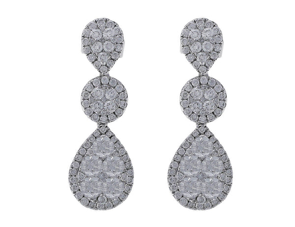 18kt White Gold Triple Motif Diamond Earrings