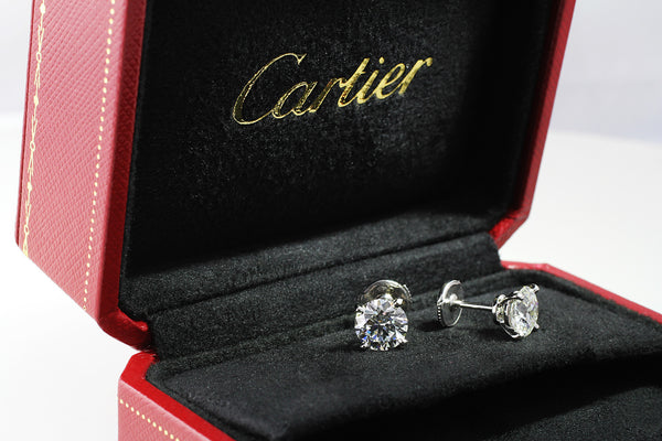 Estate Cartier 3ct Diamond Stud Earrings Cj Charles Jewelers