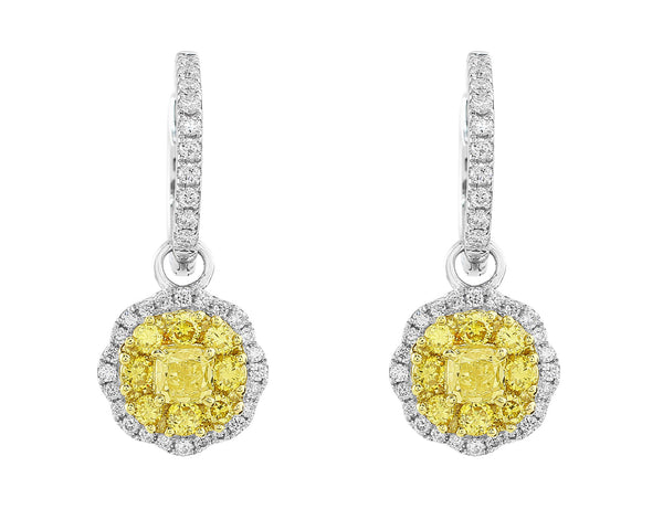 Octagonal Yellow Diamond Drop Earrings