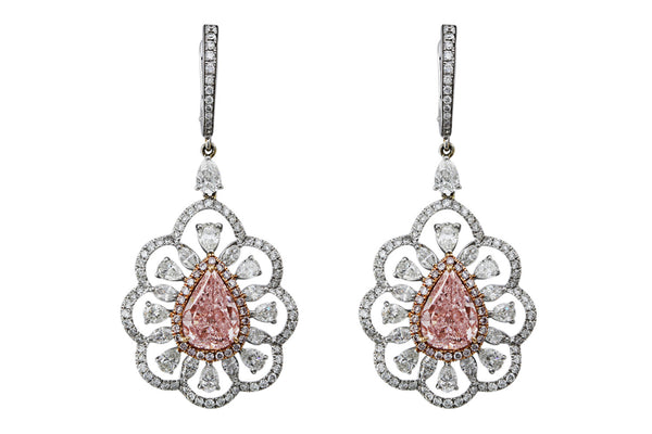 Fancy Pink Diamond Pear Earrings