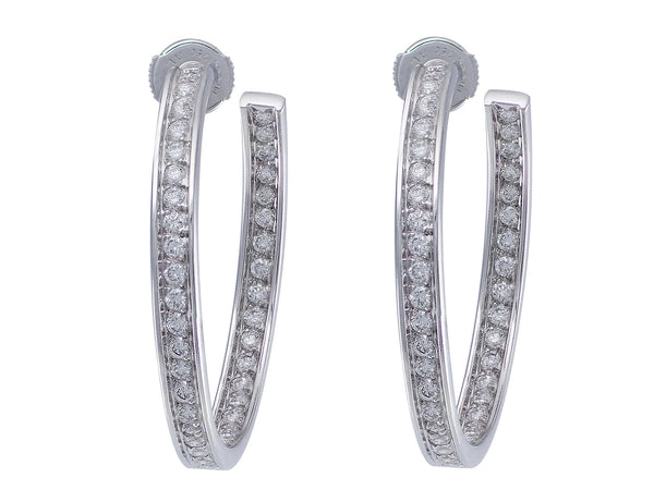 Estate Cartier Diamond Hoop Earrings