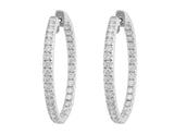 18kt White Gold Pavé Diamond Medium Hoops