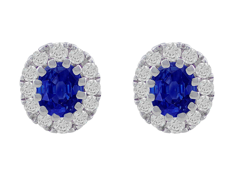 18kt White Gold Oval Sapphire Studs