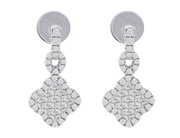 18kt White Gold Diamond Small Dangle Earrings