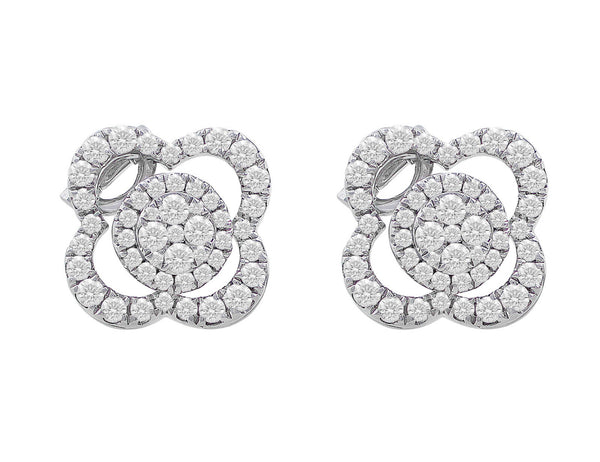 18kt White Gold Floral Diamond Earrings