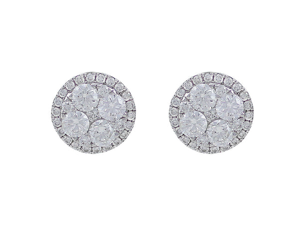 18kt White Gold Diamond Round Stud Earrings