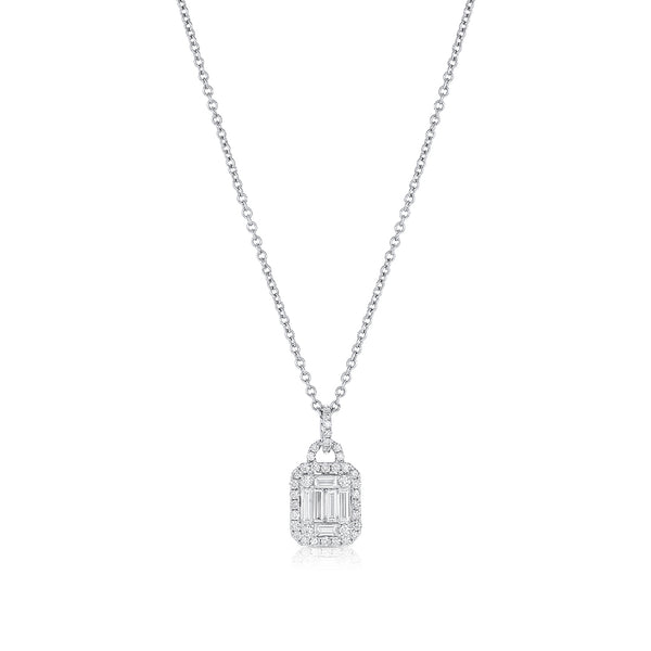 18K WHITE GOLD BAGUETTE AND RBC DIAMOND PENDANT