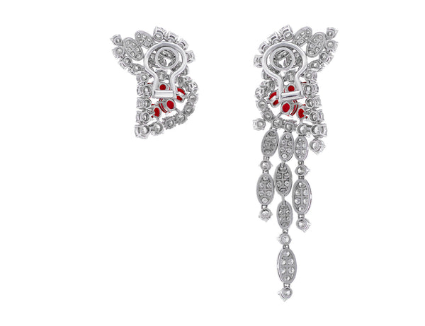 Estate 18kt White Gold Ruby & Diamond Earrings