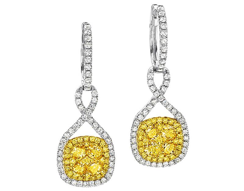 Fancy Yellow Diamond Pavê Earrings