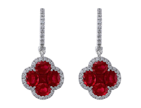Ruby & Diamond Quatrefoil Earrings