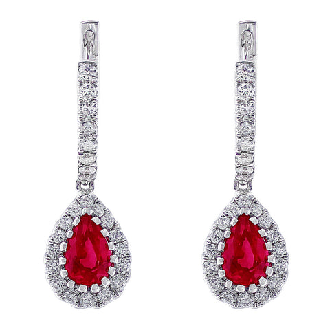 18kt White Gold Diamond & Ruby Dangle Earrings