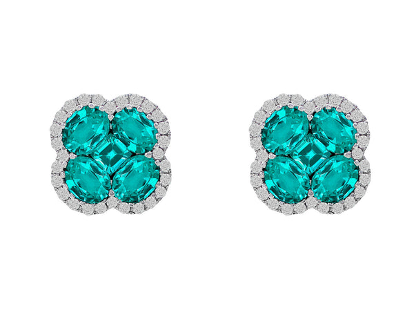 18kt White Gold Diamond & Emerald Studs