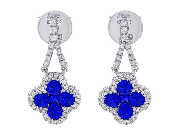 18kt White Gold Sapphire Clover Dangle Earrings
