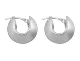 18kt White Gold Satin Finish Hoops