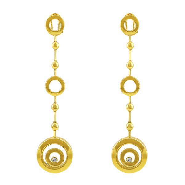 Gold Circles Diamond Earrings