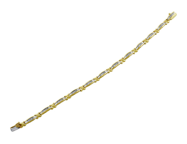 Estate 14kt Yellow & White Gold Diamond Bracelet