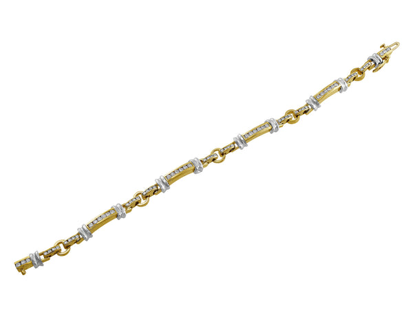 Estate 14kt Gold Channel Set Diamond Bracelet