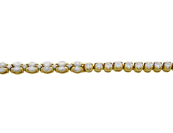 Estate 18kt Yellow Gold Marquise & Round Brilliant Diamond Bracelet