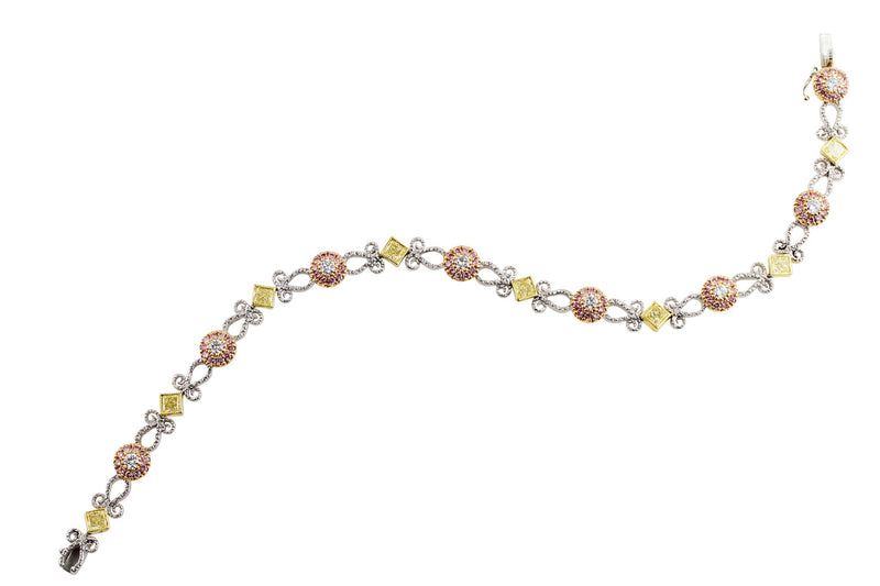 4.23ctw Pink and Yellow Diamond Filigree Bracelet