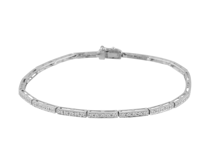 Estate 14k White Gold Diamond Tennis Bracelet