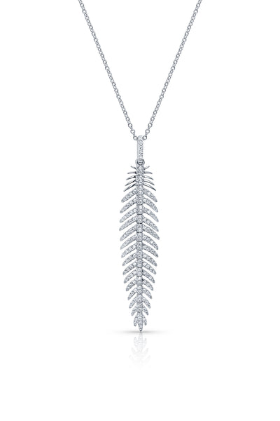 18kt White Gold Feather Pendant