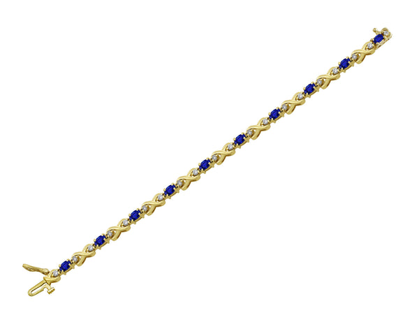 Estate Sapphire & Diamond 14kt Yellow Gold Bracelet