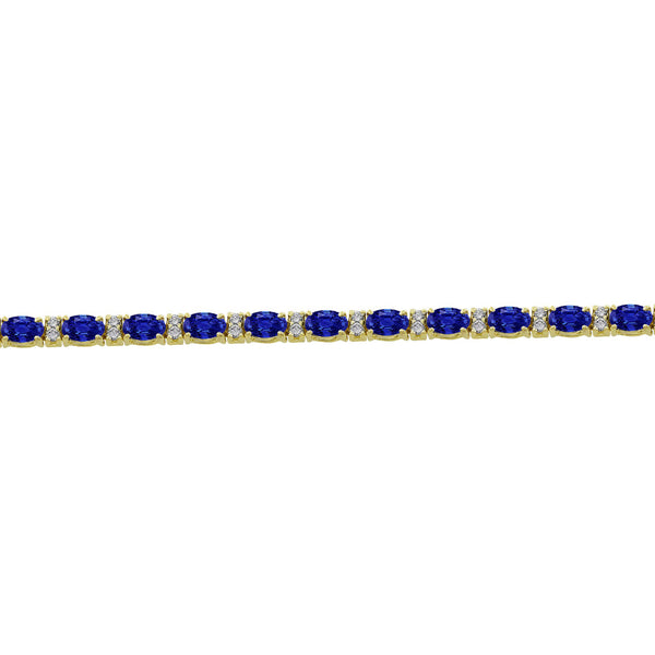 14 Karat Yellow Gold Sapphire And Diamond Bracelet - Estate